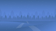 Night Winter Landscape Vector Illustration. Snowy Meadow, Snowdrifts, Trodden Road, Fir-tree Forest. Cold Evening Snowfall In Spruce Woods, Frost Weather, Nature Scenery Flat Background