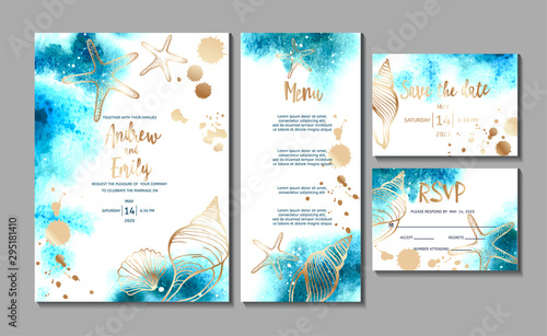 Fototapeta Wedding invitation card with abstract watercolor background and gold seashells. Menu card, Save the Date and RSVP card templates obraz