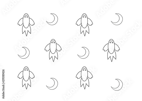 Children's wallpaper with rockets and the moon.  Space rockets and the moon in a children's theme.  Cartoon space rockets