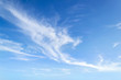 Translucent airy cirrus clouds high in a blue sky. Cloud species and varieties. Atmospheric phenomena. Skyscape on a sunny day.