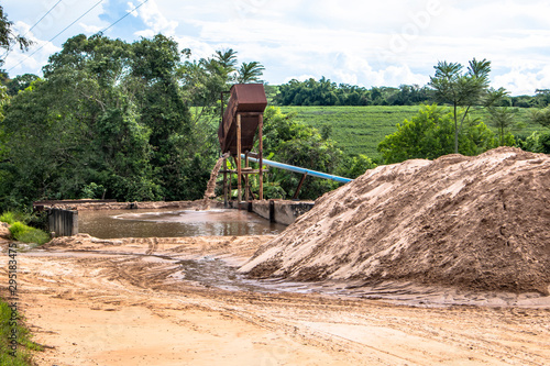 Sand extraction on the banks of the river in the state of Sao Paulo Canvas Print