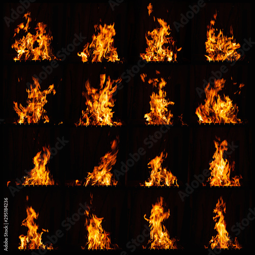 Wall Murals Fire / Flame Fire flame. A fire in the grill, fireplace and hot hearth. Burning fire at night.