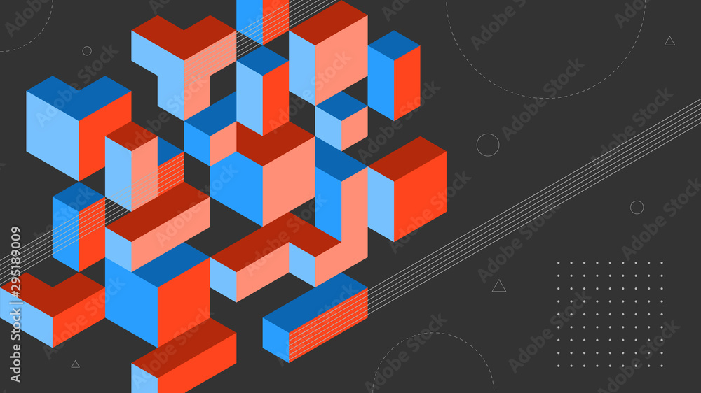 Fototapeta Abstract background with isometric elements of a cube box. With retro or vintage colors. Background for posters, banners, flyers, and website landing pages.