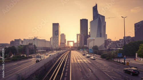 timelapse, Paris LaDefense at sunset Wallpaper Mural