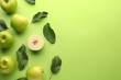 Leinwandbild Motiv Fresh ripe apples on color background