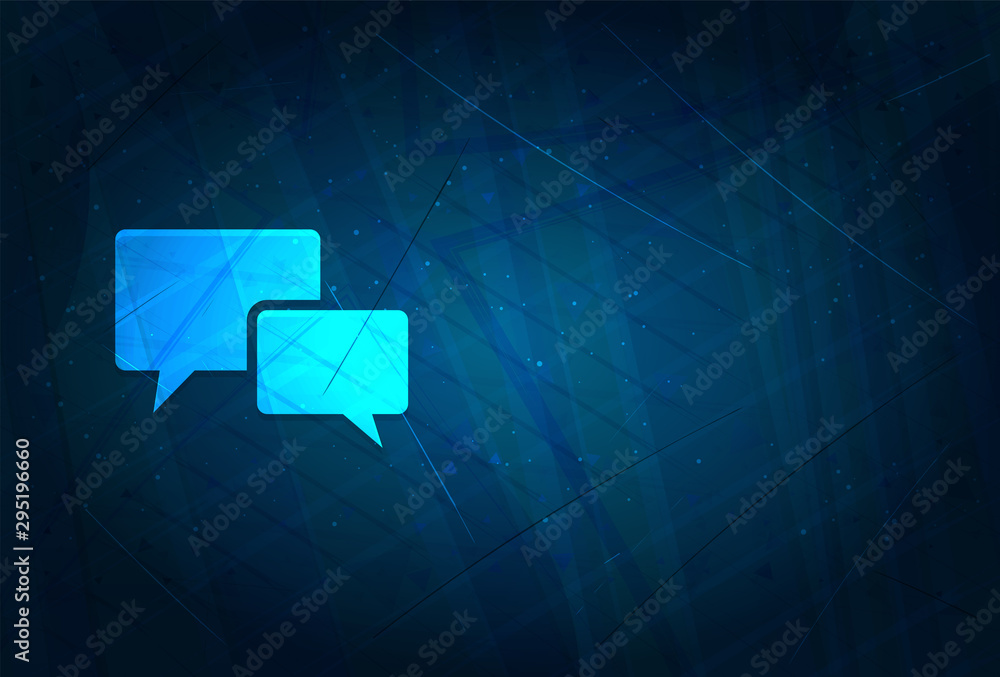 Chat bubble icon futuristic digital abstract blue background