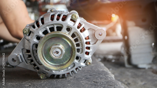 Change new car alternator in the garage or auto repair service center, as background automotive concept Canvas Print