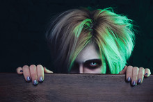 Halloween Image, Demonic Entity Looks At You With A Scary Eye. Halloween Eye Lenses. Nightmare.