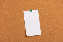 Blank Note On Cork Board