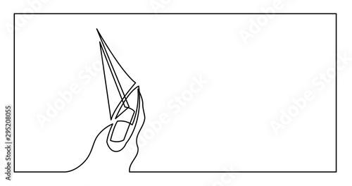 Fotografia continuous line drawing of yacht sailing on sea