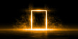 3D Rendering Abstract door light fantastic scene empty stage room with orange light element on black background
