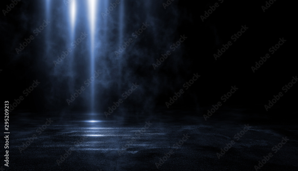 Fototapeta 3D rendering abstract dark empty scene, blue neon searchlight light, wet asphalt, smoke, night view, rays. Empty black studio room. Dark background.