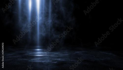 Fototapeta 3D rendering abstract dark line light empty scene empty black studio room dark background. obraz
