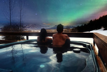 Asian Couples In The Hot Tubs Of Luxury Resorts And Northern Lights, Traveling On Holiday Iceland, Travel Ideas