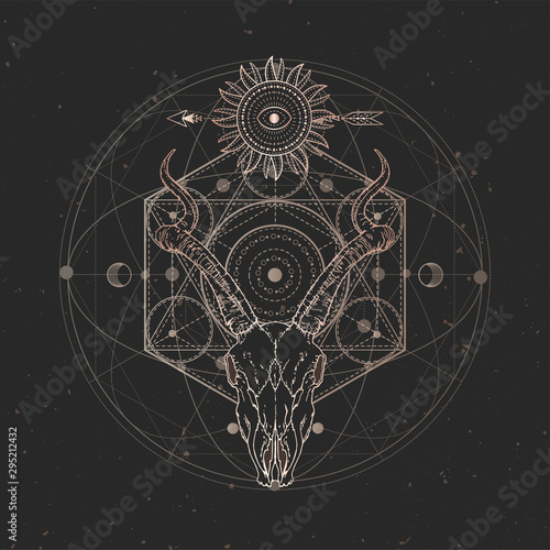 Fotomural Vector illustration with hand drawn Antelope skull and Sacred geometric symbol on black vintage background
