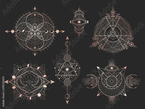 Tela Vector set of Sacred geometric symbols and figures on black background