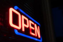Neon Open Sign At Night