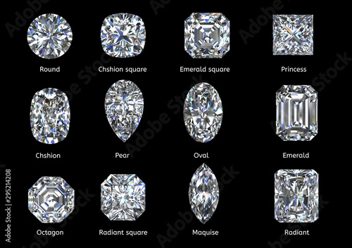 A set of twelve sparkling water diamonds with out line shape of various shapes a Canvas-taulu