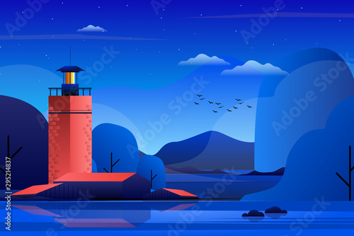 Cadres-photo bureau Bleu fonce Scenery of lighthouse with blue sky and mountain landscape