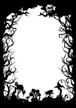 Sinister Forest Silhouette Frame/ Illustration Vertical Frame With Trees, Mushrooms, Moon