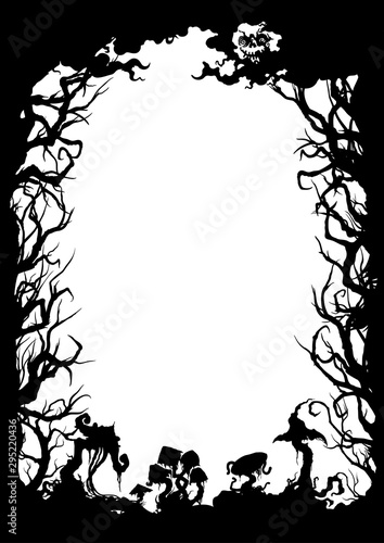 Photo Sinister forest silhouette frame/ Illustration vertical frame with trees, mushro