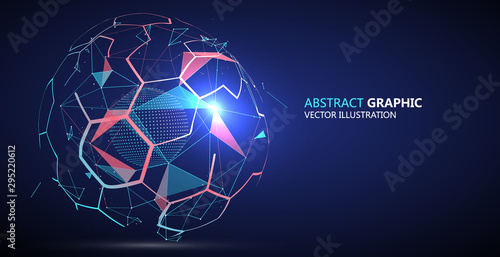Fotomural Abstract sphere composed of Points and lines, vector illustration