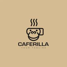 Logo Caferila, Line Artstyle Of Cup Coffe Vector