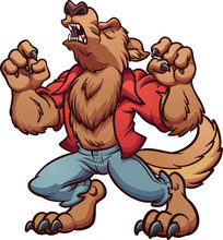 Howling Cartoon Werewolf With ...