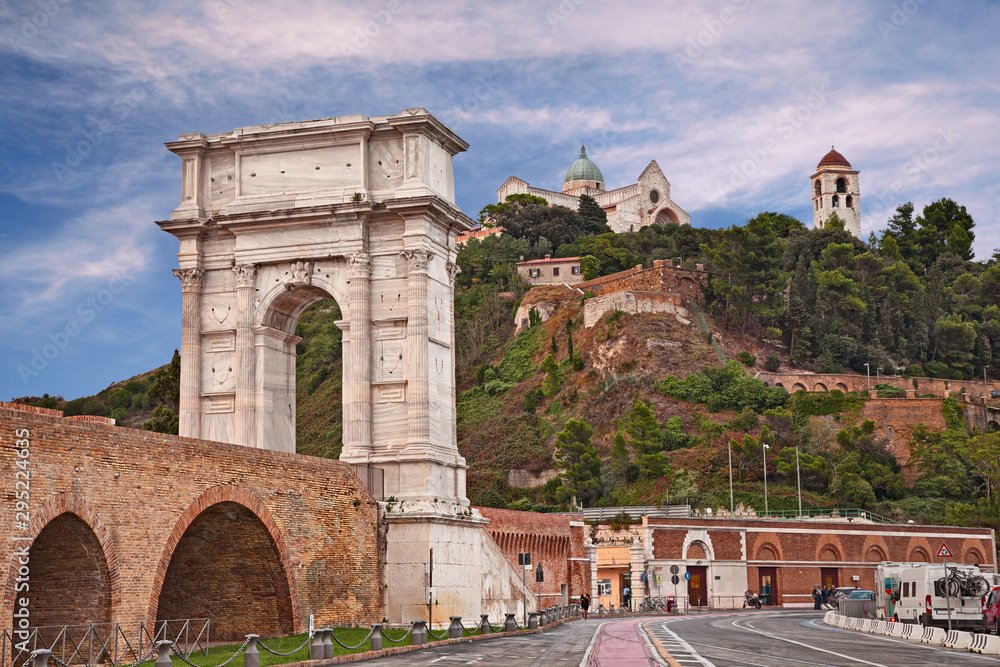 Fototapeta Ancona, Marche, Italy: the ancient Roman arch of Trajan in the port of the city