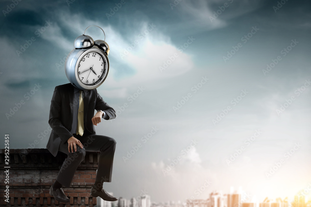 Fototapeta Clock headed businessman. Business efficiency concept.