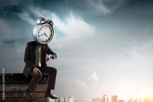 Obraz Clock headed businessman. Business efficiency concept. - fototapety do salonu