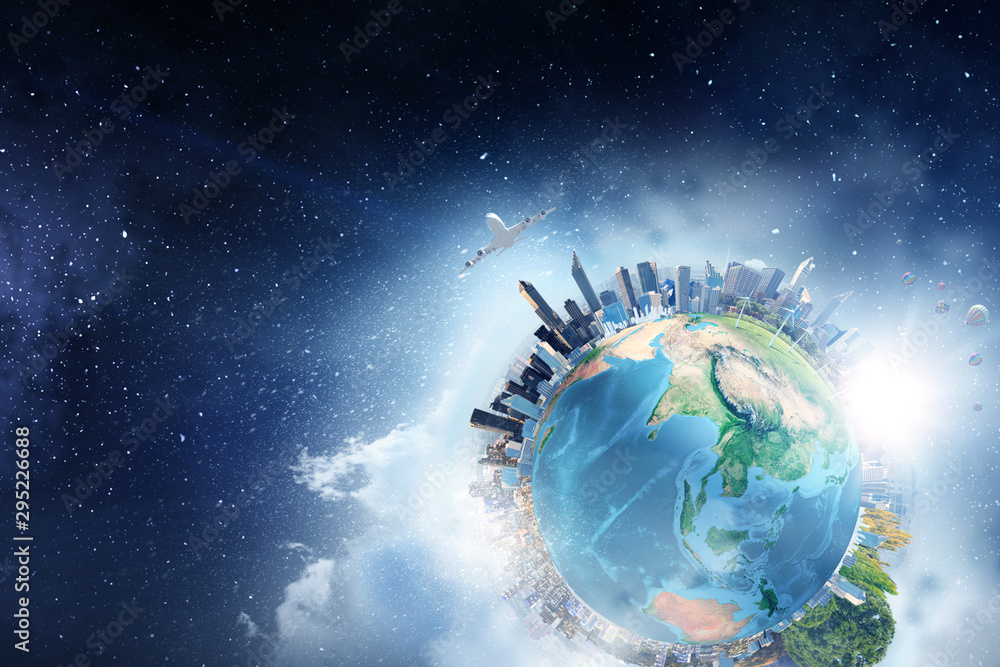 Fototapeta Earth planet with city skyline on sky and space background