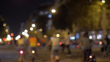 Blurry Group Of Cyclists In City During The Critical Mass Meeting. Bicyclists On The Streets At Night 07