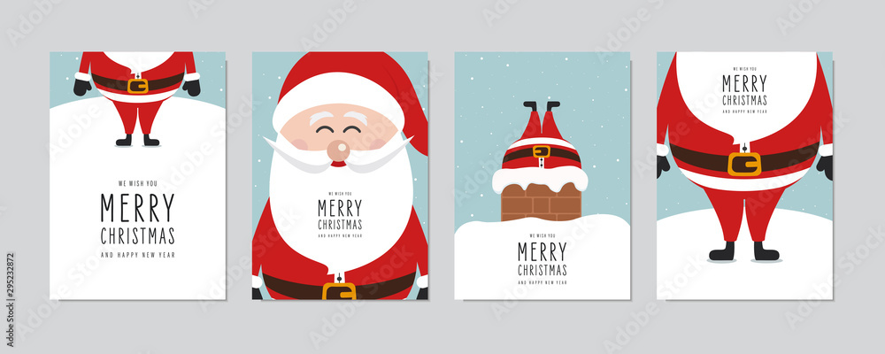 Fototapeta Christmas card set. Merry Christmas and Happy New Year greeting with cute santa claus lettering vector.