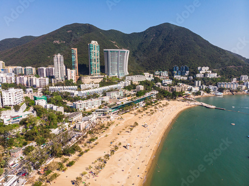 Aerial view of the famous Repulse bay in Hong Kong island on a sunny day Wallpaper Mural