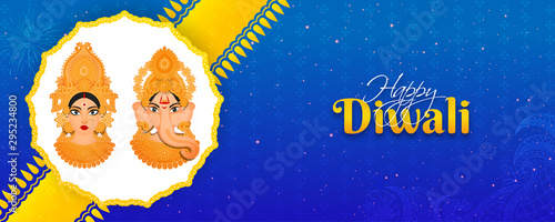 Goddess Lakshmi and Lord Ganesha on yellow and blue lighting effect background for Happy Diwali celebration Wallpaper Mural