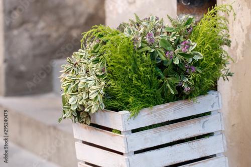Dekoracyjna doniczka z kwiatami w stylu vintage
