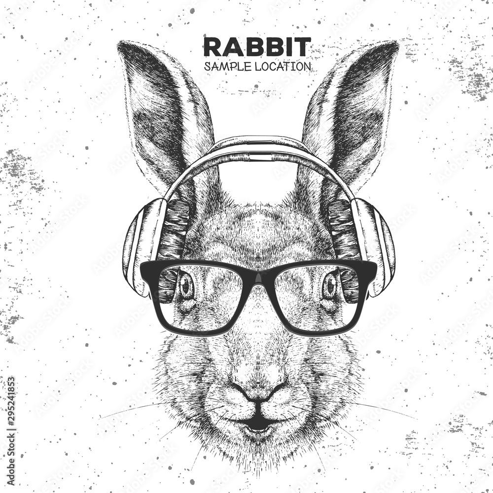 Fototapeta Hipster animal rabbit with headphones. Hand drawing Muzzle of animal bunny
