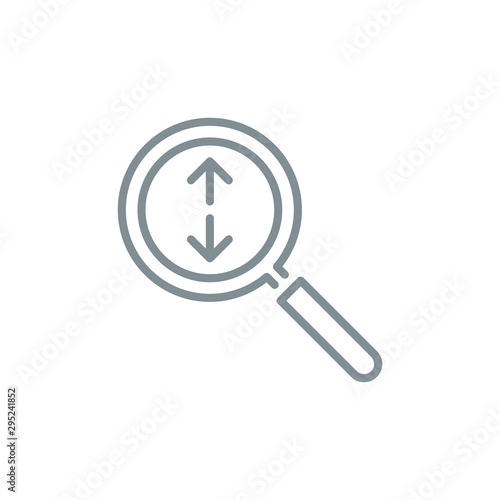 Photo zoom scale with magnifier glass outline flat icon