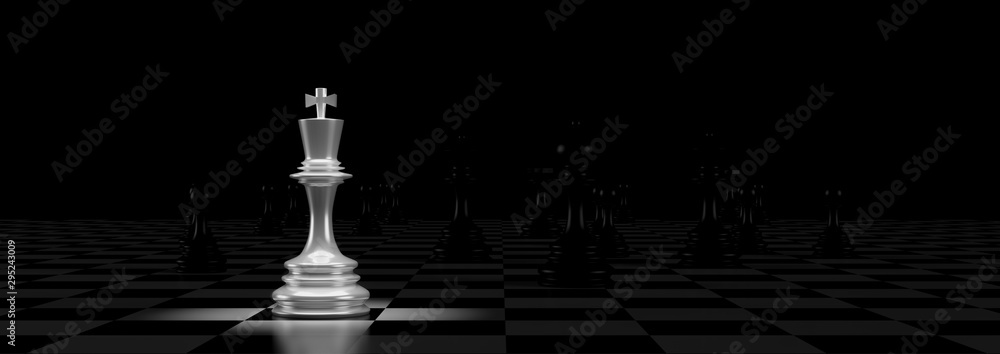 Fototapeta Business concept design with chess pieces. 3D illustration