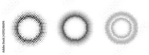 Vector halftone round frames. Abstract dotted gradient design elements