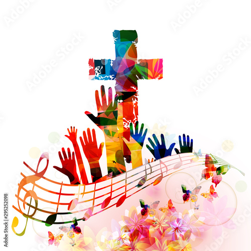 Colorful christian cross wi...
