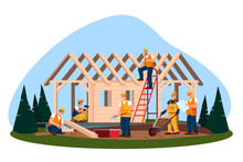 Wooden Eco House Construction. Vector Flat Illustration. Workers And Builders Building House Or Cottage In Forest.