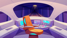 Train Cockpit With Control Panel And Armchair, Empty Railway Car Cabin With Electronic Dashboard, Buttons And Panoramic Windows With Rails And Dark Underground Tunnel View. Cartoon Vector Illustration