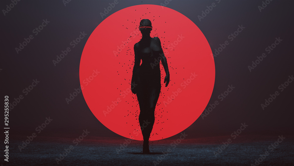 Fototapeta Advanced Shape Shifting Alien Being Cyclops Formed From Small Spheres Cyber Punk with a Red Sphere Futuristic with the Power of Telekinesis 3d illustration 3d render