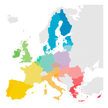 Colorful Vector Map Of EU, European Union, Member States