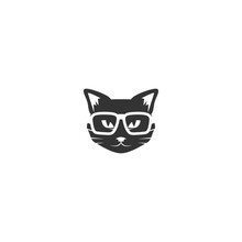 Black Cat's Head With Glasses ...