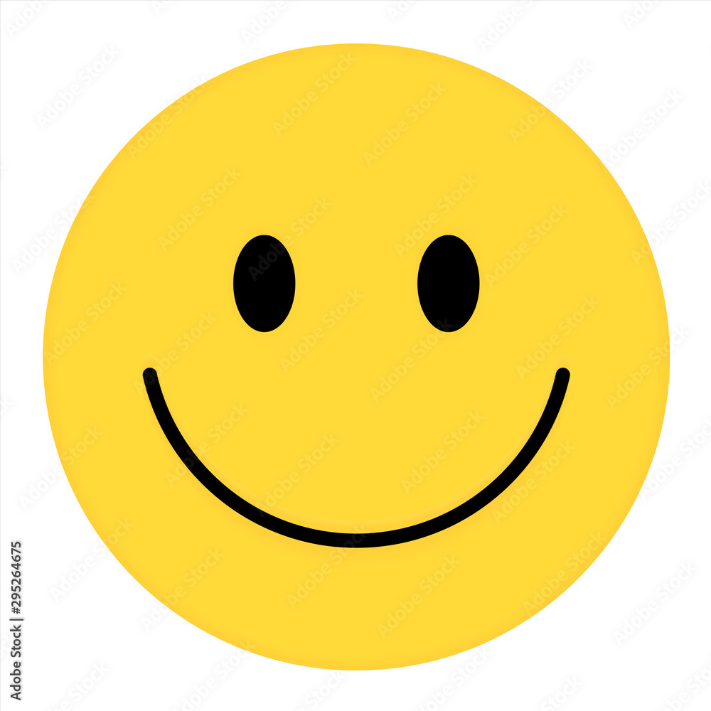 Fototapeta Smiley Face. Happy smiley emoji vector yellow. Vector happy circle face.