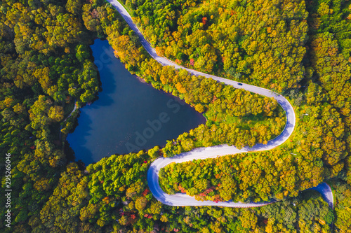 Fotografija  Aerial view of winding road on mountain in Autumn