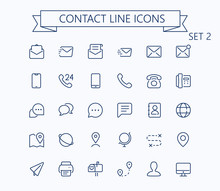 Contact Line Mini Icons Set 2. Editable Stroke. 24x24 Grid. Pixel Perfect.